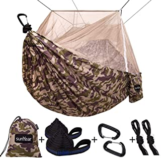 Single & Double Camping Hammock with Mosquito/Bug Net, 10ft Hammock Tree Straps and Carabiners, Easy Assembly, Portable Parachute Nylon Hammock for Camping, Backpacking, Survival, Travel & More