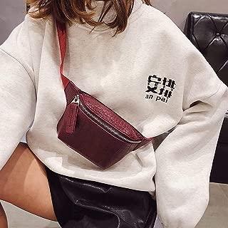 YWSCXMY-AU Alligator Leather Waist Belt Bag Women Phone Pouch Chest Handbag Female Waist Pack (Color : Red)