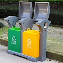 LLDDP-Trash cans Commercial Bins, Stainless Steel Dual Recycling Bin, Suitable for Park/Square/Bank/Hotel/Garden,Waste Separation Systems,Outdoor Trash Can Home Recycling Bins