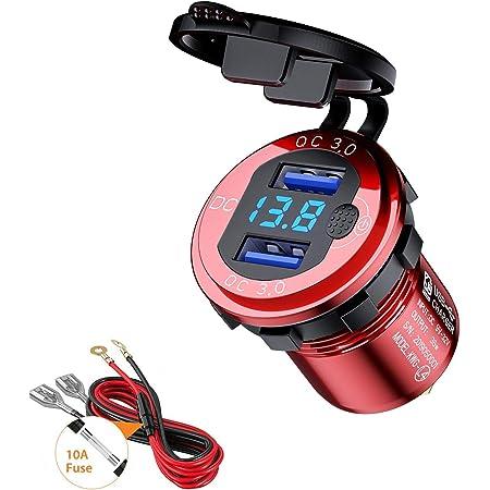 Thlevel Chargeur de Voiture USB Quick Charge QC 3.0 Double Port de Adaptateur étanche Charge Rapide 36W avec Voltmètre Numérique LED pour 9V - 32V Bateau Moto ATV Bus Camion SUV (Rouge)
