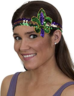 Unisex-Adult's Mardi Gras Fluer Di Lis Headband, Purple, Adjustable