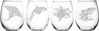 Sea animal stemless wine glass (set of 4)