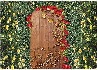 Funnytree Fotohintergrund, 17,8 x 152,4 cm, Blume, Gartentür, für Tee, Party, Geburtstag, Hochzeit, Dekoration, grüner Rasen, Blätter, Wunderland, Hintergrund für Fotoautomaten