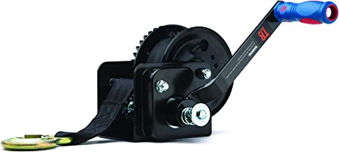 TR Industrial 1600 lb. Trailer Winch with Brake, Pre-Installed 20 ft Strap and Hook