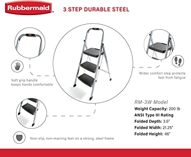 Rubbermaid RM-3W Folding 3-Step Steel Frame Stool with Hand Grip and Plastic Steps, 200-Pound Capacity, Silver Finish (Amazon