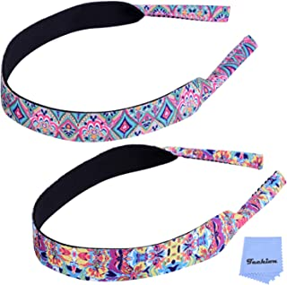 Techion Adjustable Eyewear Retainer, Sunglasses Strap Glasses Neck Cord Band with Floral Pattern - Set of 2