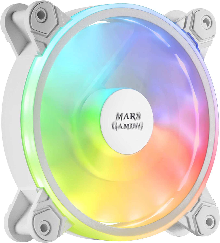 MARSGAMING MFXW, Ventilador PC 12cm, ARGB Dual, Ultra-silencioso 14db, Blanco