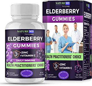 Elderberry Gummies | Supports Immune System| Triple Action with 200% Vitamin C & Zinc | for Adults & Kids | All Natural No...