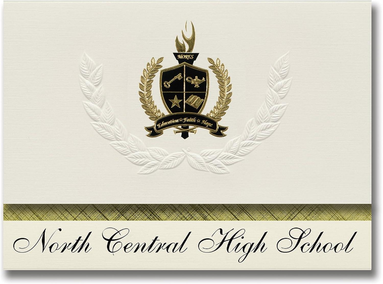 Signature Signature Signature Announcements North Central High School (Indianapolis, IN) Abschlussankündigungen, Präsidential-Stil, Grundpaket mit 25 Goldfarbenen und schwarzen metallischen Folienversiegelungen B07961XD4P | Moderner Modus  a73a87