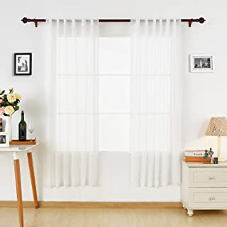 Deconovo White Sheer Curtains Back Tab Linen Look Transparent Curtain Voile Curtains White for Bedroom 52W x 84L White 2 Panels