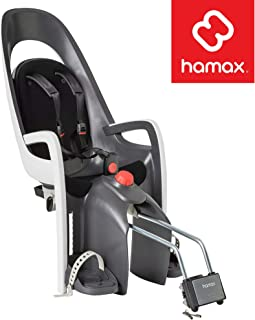 Hamax Caress Child Bike Seat, Ultra-Shock Absorbing Frame or Rack Rear Mount, Adjustable to Fit Kids (Baby Through Toddler) 9 mo - 48.5 lb. 35-Year Award Winning European Brand.