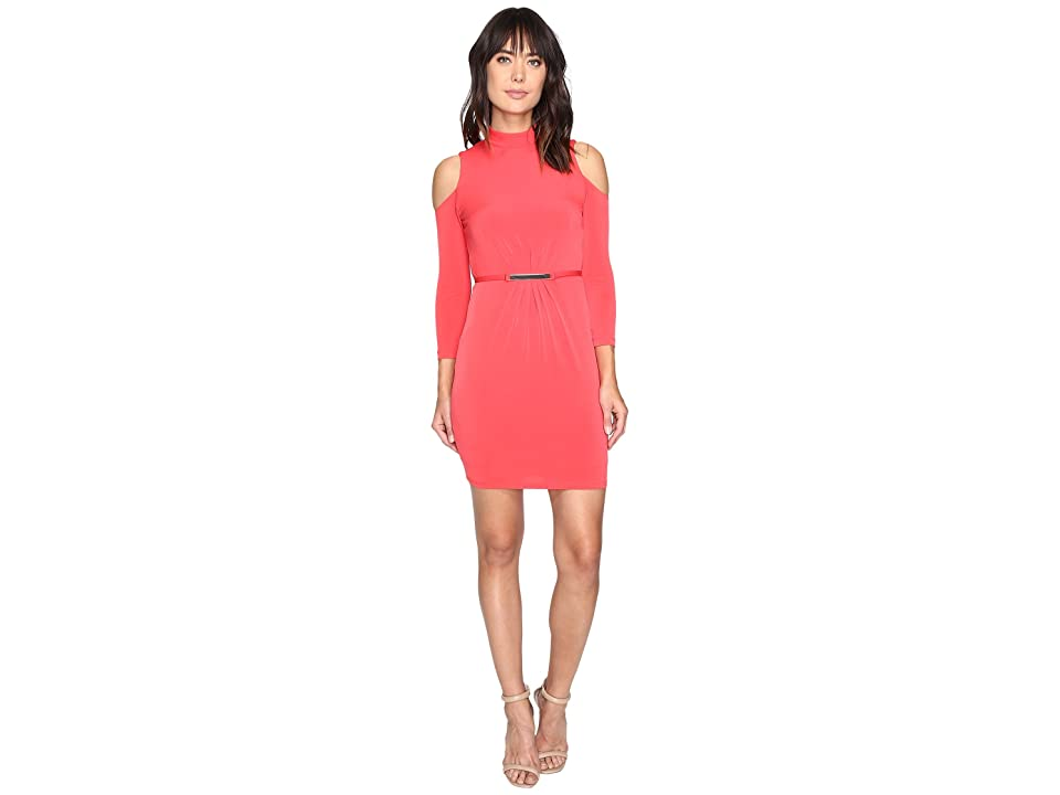 Jessica Simpson Cold Shoulder Mock Nuck Dress (Hot Coral) Women