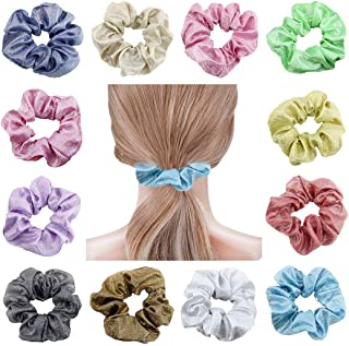 COSYOO 12PCS Glitter Hair Scrunchies Fashion Shiny Bobble Scrunchy Elastic Hair Ropes Hair Holder