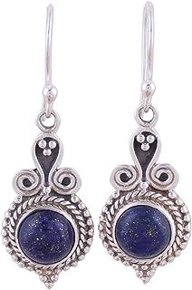 NOVICA Lapis Lazuli .925 Sterling Silver Dangle Earrings `Grand Delhi Blue`