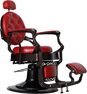 BarberPub Heavy Duty Metal Vintage Barber Chair All Purpose Hydraulic Recline Salon Beauty Spa Chair Styling Equipment 3849 (Red)