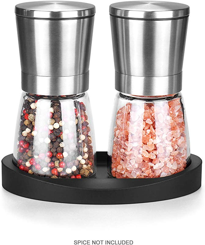 Premium Salt And Pepper Grinder Set Stainlees Steel Mill With Stand Adjustable Ceramic Spice Grinder