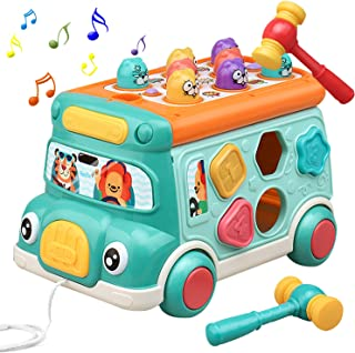 Cute Stone Push Pull Bus Toy, Baby Musical Learning Toys with Sound & Light, Whack-a-Mole Game, Shape Matching, Gear, Toy ...