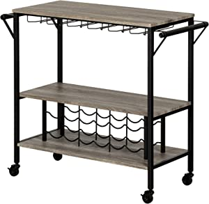 South Shore Munich Bar Cart with Wine Rack, Weathered Oak and Matte Black