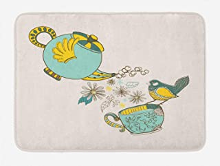 Icndpshorts Tea Bath Mat, Bird Drinking Winged Teapot Alice in Wonderland Style Friends Flowers Spring, Plush Bathroom Decor Mat with Non Slip BackingTeal Pale Blue Yellow 31.5 x 19.7inch
