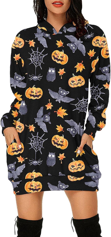 Women Hoodies Dress Halloween Pumpkins Skull Black Cat Ghost Print Long Sleeve Plus Size Hooded Sweatshirt Dress with Pocket