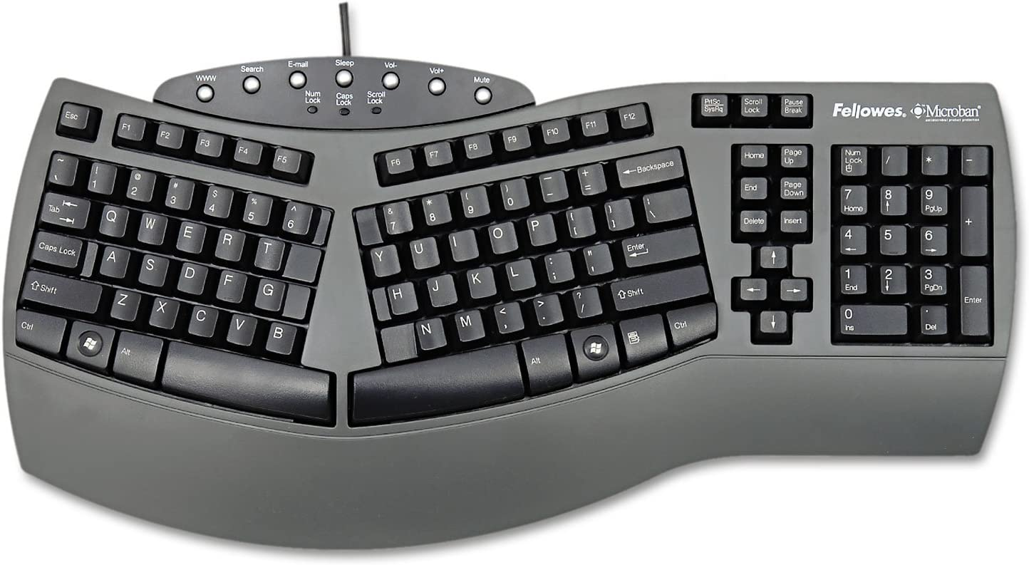 Fellowes - Ergonomic Split-Design Keyboard w/Antimicrobial Protection, 117 Keys, Black