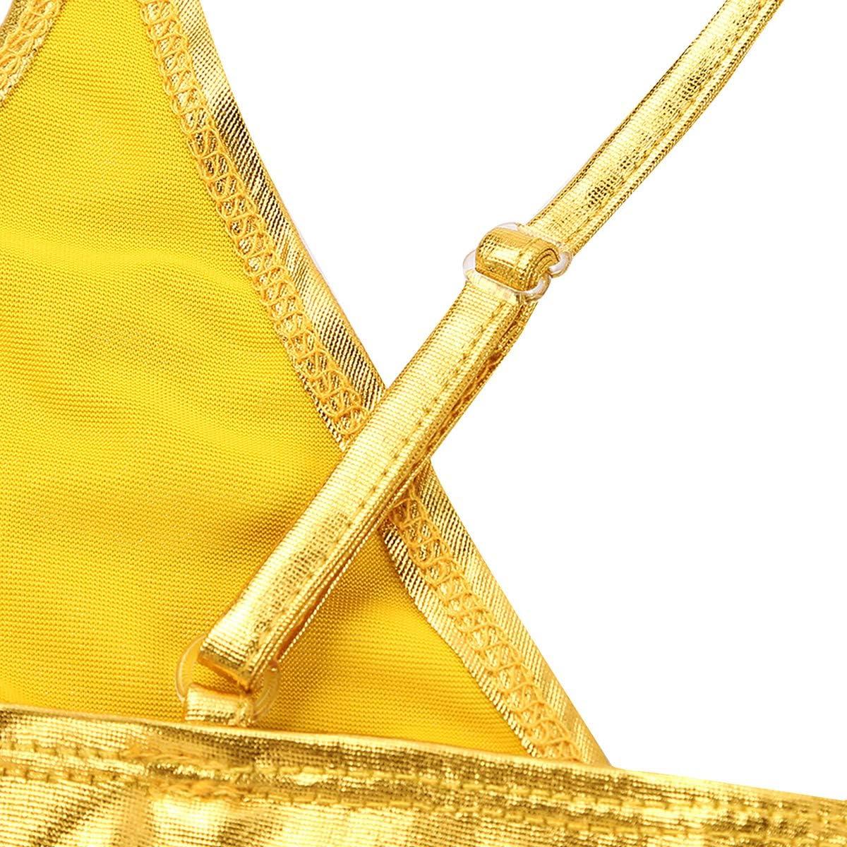dPois Damen Gl/änzende Bikini Set Gekreuzte BH Bikinislip mit Spaghettitr/äger Badeanzug Hoher Beinausschnitt Bademode Swimwear