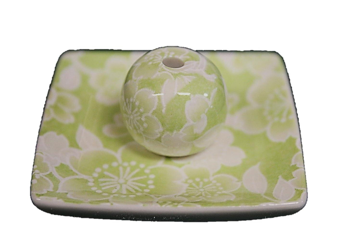 北東メルボルン裂け目桜友禅 (緑) 小角皿 お香立て 陶器 ACSWEBSHOPオリジナル