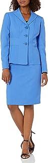 Le Suit Women's 3 Button Peak Lapel Glazed Melange Skirt Suit