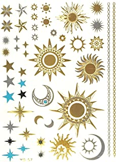 Allydrew Large Metallic Gold Silver and Black Body Art Temporary Tattoos, Sun, Moon, Stars