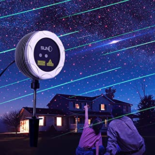 SUNY Outdoor Laser Projector Red Dots Star Green Meteor Rain Shower Garden Light Waterproof Timing Motion Landscape Light Decor for House Pool Yard Holiday Party Festival Christmas Night
