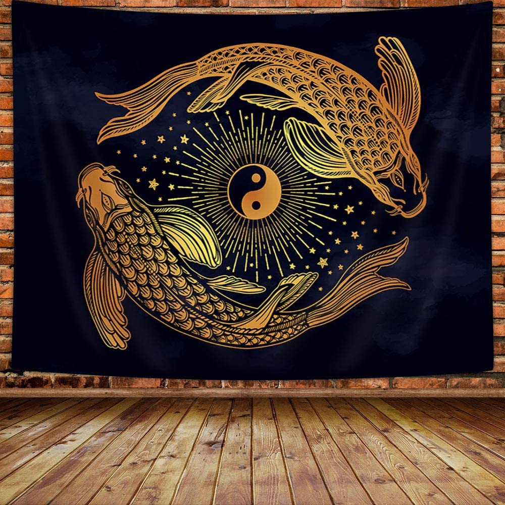 MERCHR Pisces Tapestry, Golden YIN YANG Fish Bohemian Psychedelic Mystic Mandala Small Tapestry Wall Hanging, Modern Tapestries for Bedroom Living Room Dorm Decor, 60X40 Inches