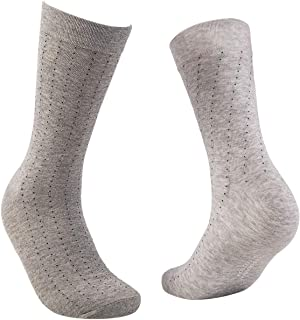 Pierre Donna Men's Crew Socks 4 Pack Breathable Casual Socks - 100% Cotton