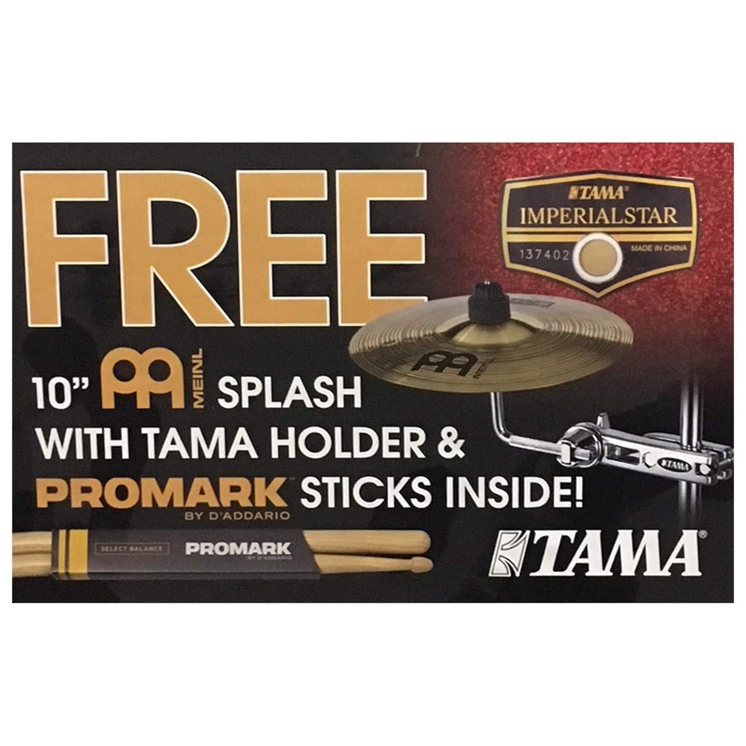 Tama Imperialstar Add-On Meinl 10 Inch Splash Cymbal w/Holder and Pro-Mark Stic