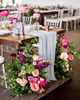 QueenDream Gray Chiffon Table Runner 10ft Sheer Table Runners for Wedding Decor Rustic Boho Party Table Reception Decoration 10 Pieces