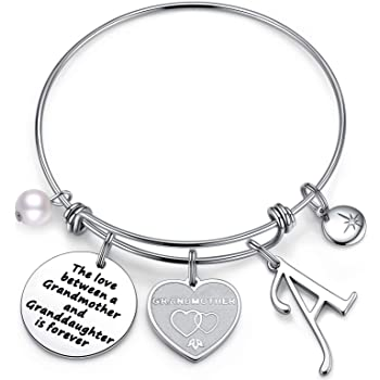 Anoup Grandma Gifts from Granddaughter, The Love Between Grandma and Granddaughter is Forever Initial Charm Bracelet Grandma Bracelet Jewelry Christmas Birthday Gifts for Grandmother