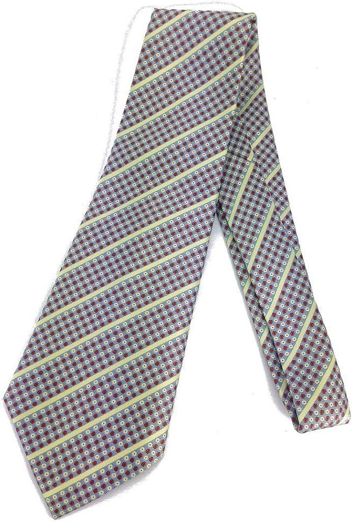 Lemon Stripe Vintage Tie - Jacquard Weave Wide Kipper Necktie Blue