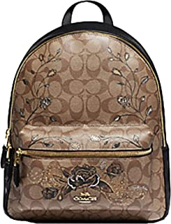 Coach Chelsea Charlie In Signature Cavas with Animation Khaki/Black Leather Backpack