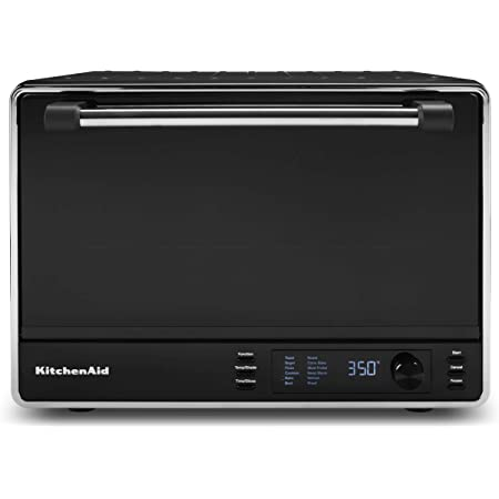 KitchenAid KCO255BM Dual Convection Countertop Toaster Oven, 12 preset cooking functions to roast, bake, fry meals, desserts, grill rack, baking pan, Digital display, non-stick interior, Matte Black