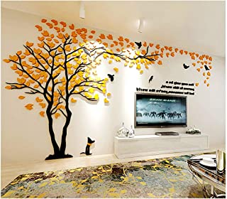 LUHSICE Big Mirrors Tree for Wall Living Room Decor (Orange Yellow 157.4