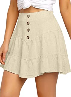 luvamia Women's Casual Mid Waist Button Front Flared A-Line Skater Mini Skirt