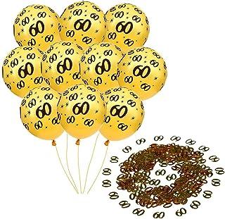 Mirrwin 60 Mesa Confeti Globos de Látex para 60 Aniversario Kit de globos de decoración 60 cumpleaños Globos de Confeti Dorados 60 para cumpleaños Fiesta Aniversario de bodas 10 piezas Globo