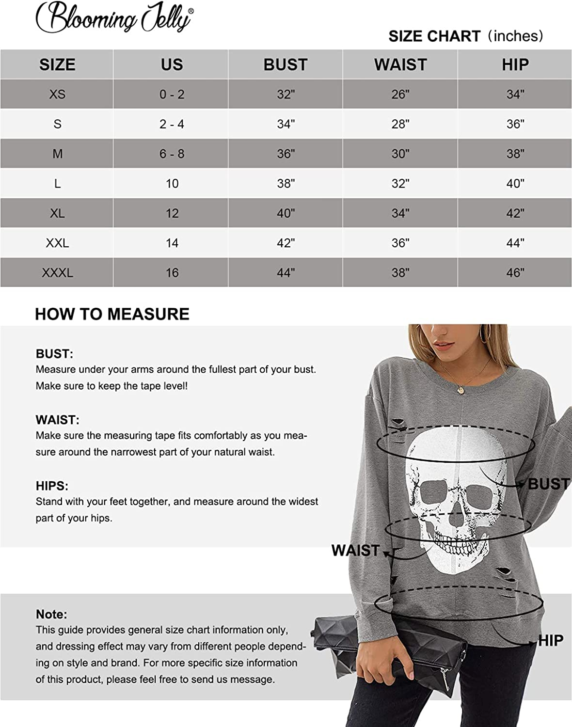 Blooming Jelly Women's Crewneck Sweatshirt Skull Graphic T Shirts Long Sleeve Top Pullover Oversized Sweaters