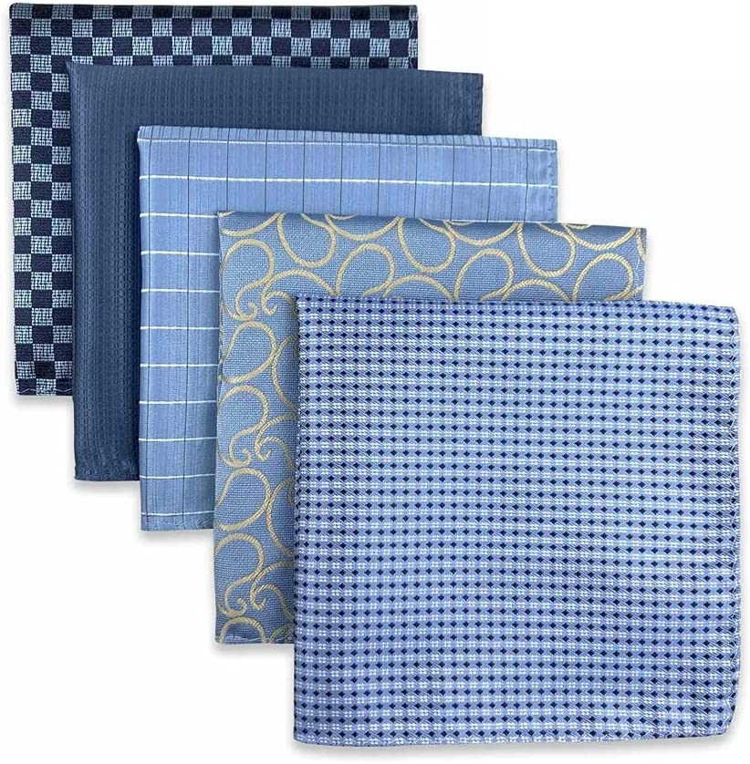 EODNSOFN 5 Pieces Assorted Mens Pocket Square Silk Handkerchief Set Accessories Gift Party (Color : B, Size : 32x32CM)