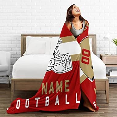 Custom Personalized Football Blanket Printed Your Name and Number Throw Blanket Couch Tapestry for Fans Decorative Gift