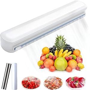 Adjustable Cling Film Cut Cling Food Wrap Cutter Slide Cutter Home Box Holder Plastic Wrap Dispensers Kitchen Storage Organizer