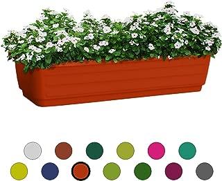 ALMI Atzmon TerraBox Window Planter 24 Inch, Elegant Shaped Flower Tree Pot For Garden, Home decor Planter For Plants, Small Trees, Plant Pot, UV Resistant Paint, Indoor & Outdoor, Orange