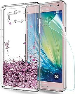 083661d1c01 LeYi Funda Samsung Galaxy A5 2015 Silicona Purpurina Carcasa con HD  Protectores de Pantalla,Transparente
