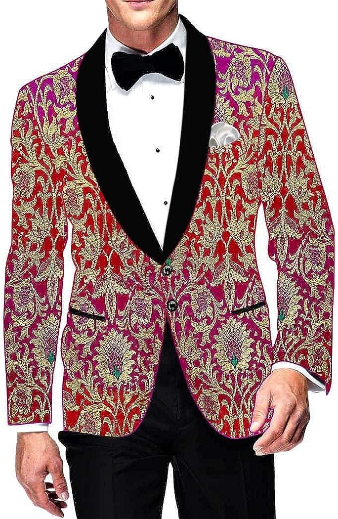 INMONARCH Mens Slim fit Casual Magent and Red Kimkhab Blazer Sport Jacket Coat Designer SB15372