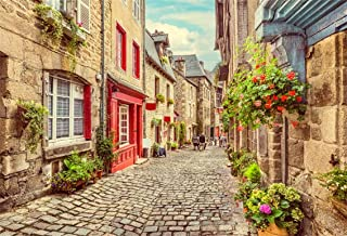 CSFOTO 5x3ft Background for Narrow Street Flower Decoration Photography Backdrop Ancient Architecture Pathway Old Building Peaceful Town Tourism Travel Resort Photo Studio Props Vinyl Wallpaper