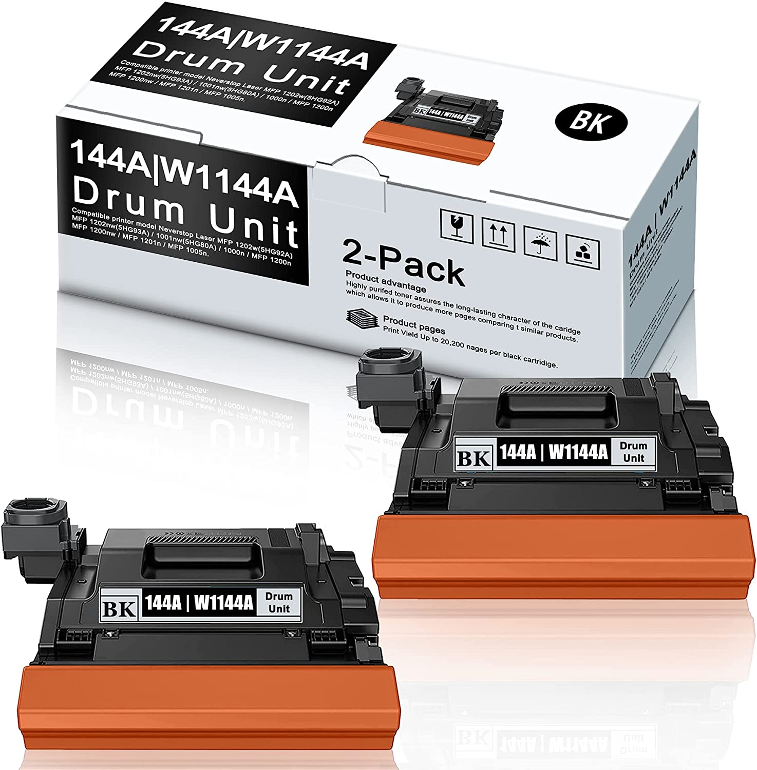 2 Pack Black Compatible 144A W1144A Drum Unit Replacement for HP Neverstop Laser MFP 1202w MFP 1202nw 1001nw 1000n MFP 1200n MFP 1200nw 1201n 1005n Printer Drum.